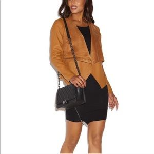 NWT- JustFab Brown Faux Leather Waterfall Jacket